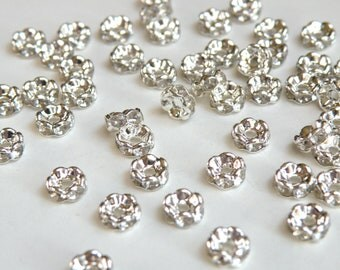 50 Clear rhinestone rondelle wavy spacer beads 6mm DB10185
