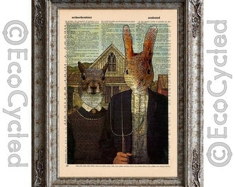 American Gothic Squirrels on Vintage Upcycled Dictionary Art Print Book Art Print Recycled Repurposed Amazing Animalia bookworm gift