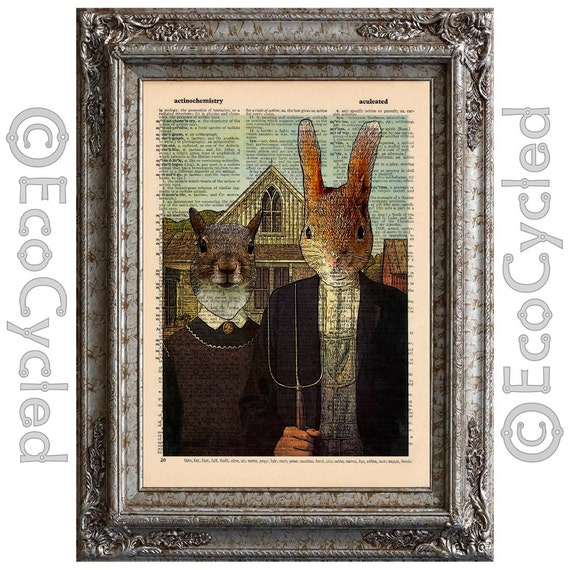 American Gothic Squirrels on Vintage Upcycled Dictionary Art Print Book Art Print Recycled Repurposed Amazing Animalia