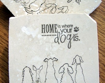 coasters, natural stone, tumbled tile, - dogs,  set of 4 -
