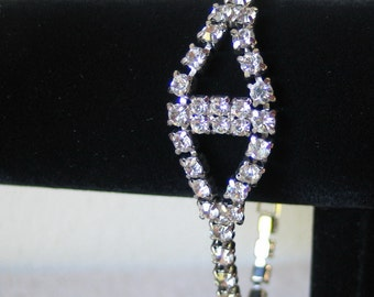 Vintage 1950s Slide Chain Clear White Rhinestone Cocktail Party Bracelet