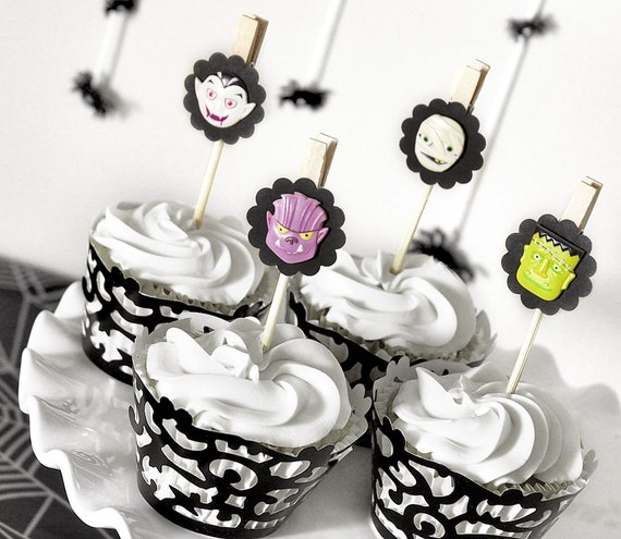 Spooky Monster Halloween Cupcake Toppers or Party Decor or Gift Favor Bag Clips Mummy, Vampire, Werewolf, Frankenstein - Set of 12 -