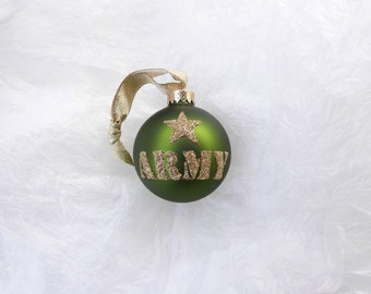 United States Army Glitter Ornament - Army Green and Gold Military Solider Ornament- Personalized