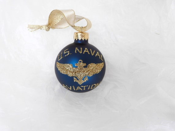 Personalized US Naval Aviation Glass Ball Ornament - US Navy Pilot and Flight Wings Military Ornament