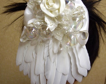 50% off  wedding fascinator - Ooak -  cruelty free feathers