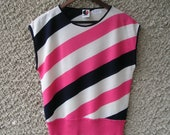 RESERVED: Vintage 80s navy, white and candy pink knit blouse, size S-M
