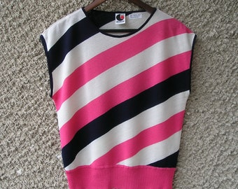 Vintage 80s navy, white and candy pink knit blouse, size S-M