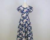 Sale White Hibiscus Dress - Vintage 1980s Does 50s Full Skirt Hawaiian Cotton Summer Dress - Small - Blue and White Floral