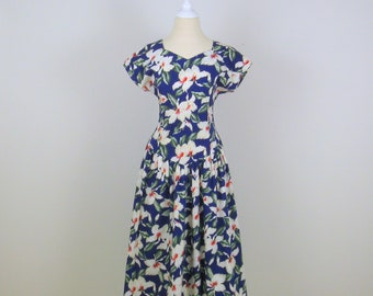 On Sale White Hibiscus Dress - Vintage 1980s Does 50s Full Skirt Hawaiian Cotton Summer Dress - Small - Blue and White Floral
