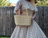 Weave Done It 1980s Does 1950s Vintage Sun N Sand Woven Wicker Handbag Purse