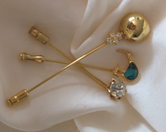 long pin brooch, lapel pins, hat pins, three long pin brooches, gold color brooch, bird brooch, round brooch, big rhinestone brooch