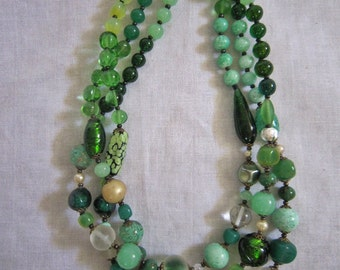 Vintage Italian Glass Bead Necklace, Estate
