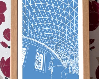 British Museum Poster – London Icons Custom Colour A3 Travel Print