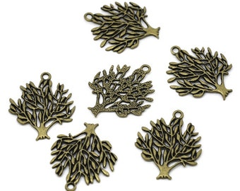 5 Tree Of Life Charms - 31x25mm - Antique Bronze - Ships IMMEDIATELY  from California - BC400