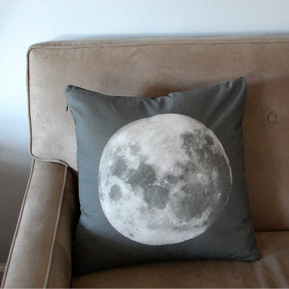 Moon Print Accent Pillow Cover Space Throw Pillow