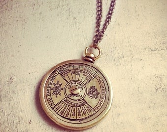 Vintage Style Nautical 50 Year Calendar Pendant Necklace Really WORKS Nautical Antique Brass Bronze CHAIN INCLUDED (BA025)