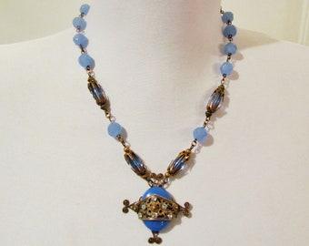 Vintage Art Deco pendant, 1920's blue glass bead necklace with unusual pendant