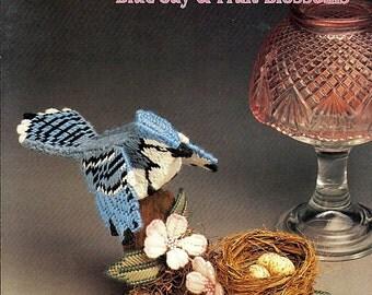 Blue Jay & Fruit Blossoms Sculptured Birds Plastic Canvas Pattern Annies Attic 87B35