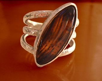 Agate ring - solid sterling silver
