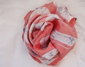 SALES-Batik Square 100% Silk Scarf Salmon pink  with White 60X60 cm