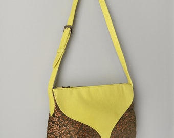 SALE! Yellow and Orange Tapestry Leather Bag, Fabric Shoulder Bag, Tapestry Women's Messenger Bag, Made in NYC