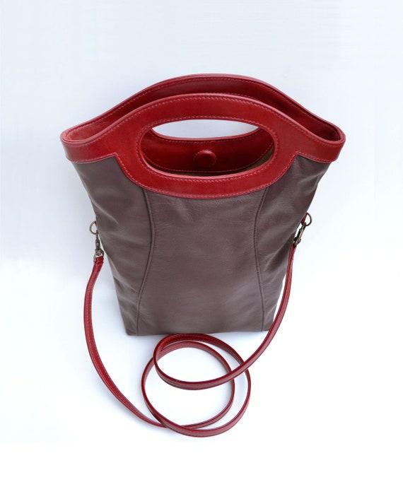 SALE! Display - Last one Cross body Tote Bag, Small Leather Tote, Simple Maroon  Red Retro Mod Handbag