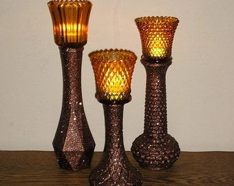 Candle Holders Upcycled Glass Vases Chocolate Brown Glittered  Thanksgiving  Decoration Vase Candle Cups upcyclesisters