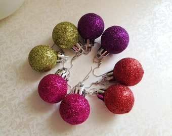 Glitter Christmas Ball Dangle Earrings. You Choose. Red. Green. Pink. Purple. Round. Christmas. Gift. Holiday. Festive. Two Dollar Jewelry.