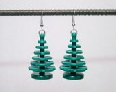 LAST PAIR!  Christmas Tree earrings with silver plated ear wires