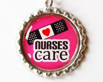 Nurse charm, Nurse Zipper charm, backpack zipper pull, zipper pull, purse charm, Nurses week, Gift for Nurse, Pink, Nurses Care (1573)
