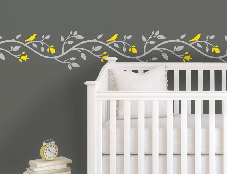 Children Wall Decal Yellow Gray Nursery Pink Gray Nursery - Yellow wall decals