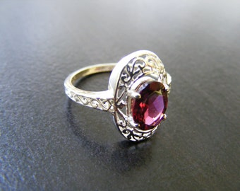 15% Off Sale.S94 New Sterling Silver Antique Filigree ring with 2 carat Natural Garnet gemstone