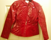 40 D SALE Lipstick Red Genuine Patent Leather Womens Jacket Sinze Small