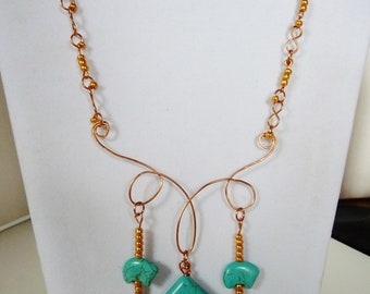 Turquoise, wire wrapped, hand made solid copper links, zuni bears, Native, ethnic, hand made clasp, soho, boho, hippie