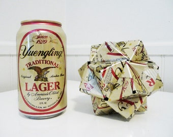 Yuengling Can Origami Ornament.  Upcycled Recycled Repurposed Art