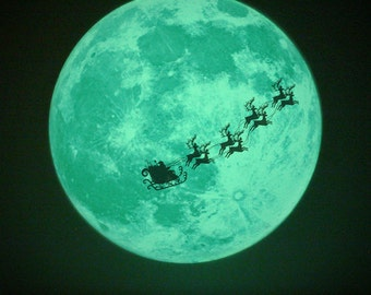 Christmas Moonlight / M-size (glow in the dark moon sticker - 21cm)
