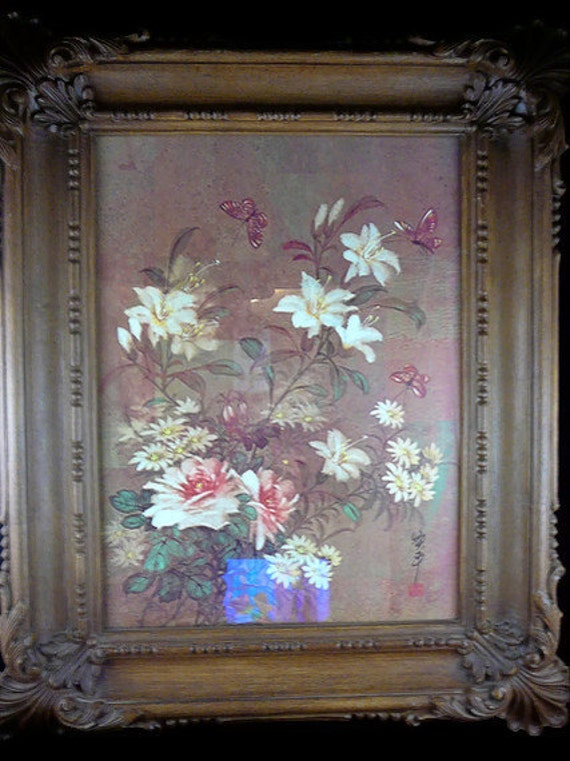 Vintage Homco / Home Interior Floral and Butterflies Picture with Victorian Style Ornate Syroco Frame