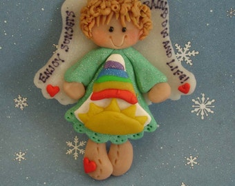 Rainbow Angel Christmas Ornament Best Friends Sunrise Sunset Heart Wings Polymer Clay Milestone Cake Topper Sun Enjoy Life 1st BFF