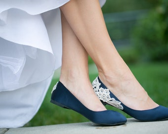 Wedding Flats - Navy Blue Wedding Shoes, Ballet Flats, Navy Flats, Blue Flats, Navy Satin Flats, Bridal Shoes with Ivory Lace. US Size 8