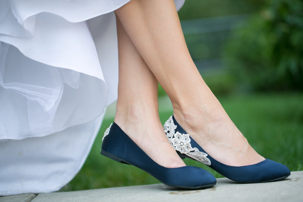 Wedding Shoes Navy Blue Bridal Ballet Flats Low