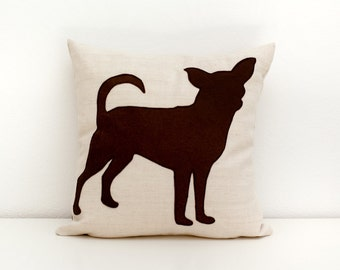 Chihuahua pillow cover - beige and dark brown - dog pillow - decorative pillow - sofa pillow - cojín del sofá - valentine's day