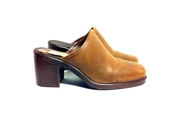 Bohemian Leather Clogs 6.5 - Chunk Heel Slip On Mules 6.5