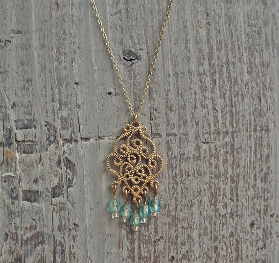 SALE / Boho Necklace / Eco Friendly Jewelry / Indie Necklace / Vintage Chic / Free Spirit Necklace / Victorian Necklace / Teal and Gold