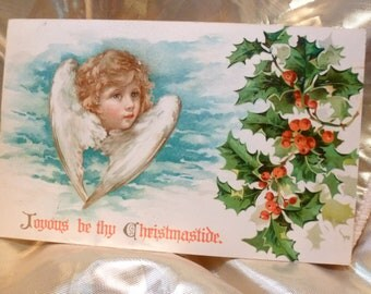 Angel vintage postcard.  Joyous be thy Christmastide.