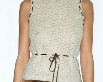 Sleeveless Sweater, Knit Sweater, Sweater Vest, Crewneck Sweater, Jumper in Textured Oatmeal Wool Threaded with Suede Trim & Waist Tie