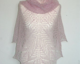 Lace Shawlette Pale Light Pink Kid Silk Mohair. Shawl Scarf Hand Knitted. MADE TO ORDER.