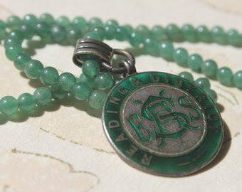 """Awards Medal 1933 Sterling Silver Fattorini & Sons -Marked-Green Enamel-15""""Jade Green Onyx Bead Necklace-FREE Shipping"""