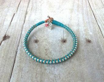 Turquoise Bracelet, Leather Bracelet, Friendship Bracelet, Aqua Jewelry, Turquoise Jewelry, Summer Fashion, Gift for Her, Stacked Bangle