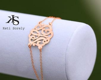 14K Solid Rose Gold - Designer Handcrafted Initial Bracelet, Monogrammed Bracelet, Monogram Anklet (Order Any Initials)