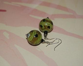 Green Swirl Green Glass Earrings